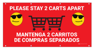 Please Stay 2 Carts Apart Bilingual with Sunglasses Emoji - Banner