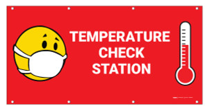 Temperature Check Station with Facemask Emoji  - Banner