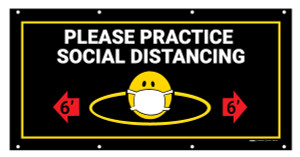 Please Practice Social Distancing with Facemask Emoji Black - Banner