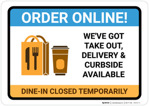 Order Online Takeout Delivery and Curbside Available with Icon Landscape - Wall Sign