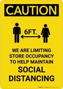 Caution: We Are Limiting Store Occupancy with Icon Portrait - Wall Sign