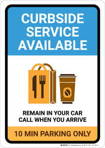 Curbside Service Available 10 Minute Parking with Icon Portrait - Wall Sign