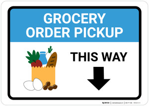 Grocery Order Pickup Down Arrow with Icon Landscape - Wall Sign