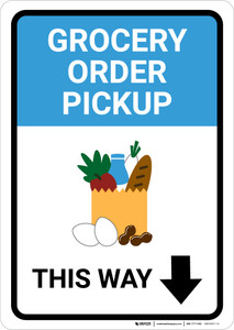 Grocery Order Pickup Down Arrow with Icon Portrait - Wall Sign