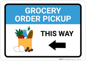 Grocery Order Pickup Left Arrow with Icon Landscape - Wall Sign