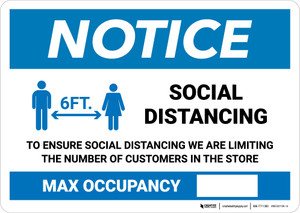 Notice: Social Distancing Max Occupancy with Icon Landscape - Wall Sign