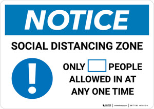 Notice: Social Distancing Zone with Icon Landscape - Wall Sign