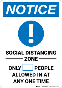 Notice: Social Distancing Zone with Icon Portrait - Wall Sign