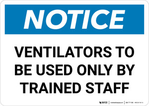 Notice: Ventilators Only To Be Used By Trained Staff Landscape - Wall Sign