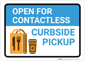 Open For Contactless Curbside Pickup with Icon Landscape - Wall Sign
