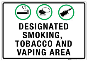 Designated Smoking/Tobacco/Vaping Area - Wall Sign
