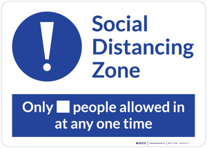 Social Distancing Zone with Exclamation Mark Blue Landscape - Wall Sign