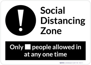 Social Distancing Zone with Exclamation Mark Landscape - Wall Sign