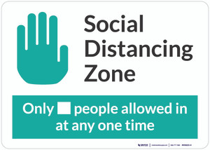 Social Distancing Zone with Icon Green Landscape - Wall Sign