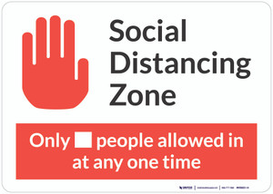 Social Distancing Zone with Icon Red Landscape - Wall Sign