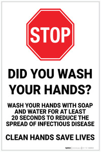 Stop: Did you Wash Your Hands? Clean Hands Save Lives Portrait - Label