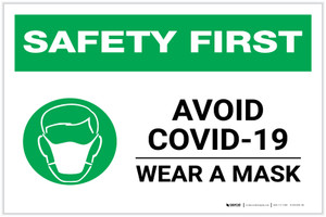 Safety First: Avoid COVID-19 Wear a Mask with Icon Landscape - Label