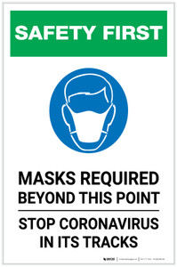 Safety First: Mask Required Beyond This Point Stop Coronavirus with Icon Portrait - Label