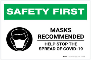 Safety First: Masks Recommended Help Stop the Spread of COVID-19 with Icon Landscape - Label