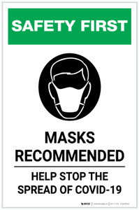 Safety First: Masks Recommended Help Stop the Spread of COVID-19 with Icon Portrait - Label