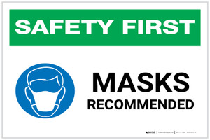 Safety First: Masks Recommended with Icon Landscape - Label