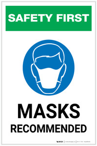 Safety First: Masks Recommended with Icon Portrait - Label