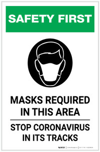 Safety First: Masks Required In This Area Stop Coronavirus with Icon Portrait - Label