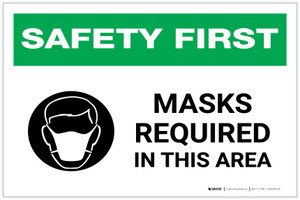 Safety First: Masks Required In This Area with Icon Landscape - Label