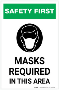 Safety First: Masks Required In This Area with Icon Portrait - Label