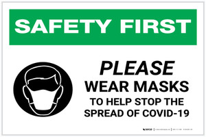 Safety First: Please Wear Masks to Help Stop the Spread of COVID-19 with Icon Landscape - Label