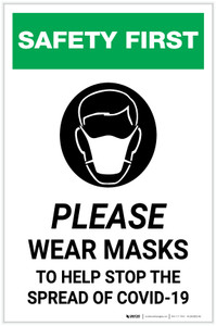 Safety First: Please Wear Masks to Help Stop the Spread of COVID-19 with Icon Portrait - Label