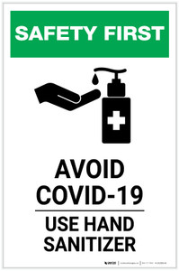 Safety First: Avoid COVID-19 - Use Hand Sanitizer with Icon Portrait - Label