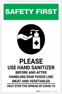 Safety First: Please Use Hand Sanitizer - Before and After Handling Raw Food with Icon Portrait - Label