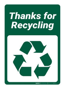 Thanks for Recycling - Wall Sign