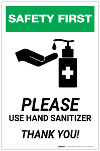 Safety First: Please Use Hand Sanitizer - Thank you with Icon Portrait - Label