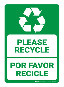 Please Recycling / Por Favor Recicle - Bilingual (Spanish) - Wall Sign