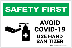 Safety First: Avoid COVID-19 - Use Hand Sanitizer with Icon Landscape - Label