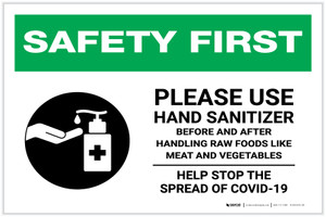 Safety First: Please Use Hand Sanitizer - Before and After Handling Raw Food with Icon Landscape - Label