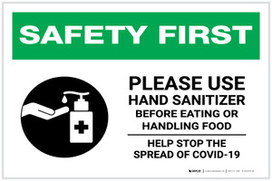 Safety First: Please Use Hand Sanitizer - Before Eating or Handling Food with Icon Landscape - Label