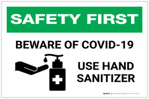 Safety First: Beware of COVID-19 - Use Hand Sanitizer with Icon Landscape - Label