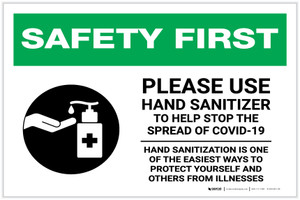 Safety First: Please Use Hand Sanitizer - Hand Sanitization with Icon Landscape - Label