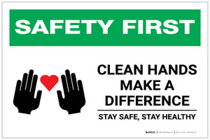 Safety First: Clean Hands Make A Difference with Icons Landscape - Label