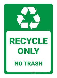 Recycle Only - No Trash - Wall Sign