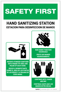 Safety First: Bilingual Hand Sanitizing Station 3-Steps with Icons Portrait - Label
