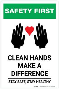 Safety First: Clean Hands Make A Difference with Icons Portrait - Label