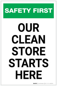 Safety First: Our Clean Store Starts Here Portrait - Label