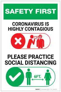 Safety First: Please Practice Social Distancing with Icons Portrait - Label