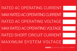Rated AC Operating Current Label