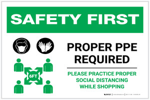 Safety First: Proper PPE Required Maintain Social Distance with Icons Landscape - Label