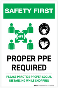 Safety First: Proper PPE Required Maintain Social Distance with Icons Portrait - Label